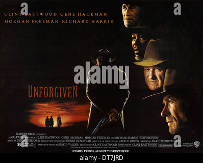 MORGAN FREEMAN GENE HACKMAN & CLINT EASTWOOD POSTER UNFORGIVEN (1992) - Stock Image
