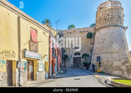 Old Town Entrance Through City Wall, Cagliari, Sardinia, Italy - Stock Image