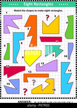 IQ and spatial skills training math visual puzzle: Match the shapes to make eight rectangles. Answer included. - Stock Image