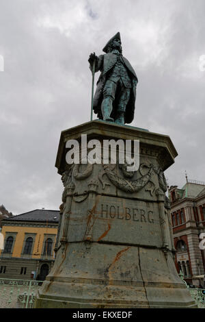 Statue in honour of Ludvig Holberg, a Norwegian/Danish writer who lived from 1684 until 1754. - Stock Image