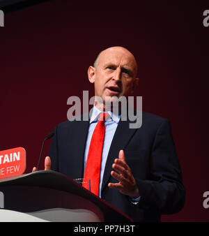 Liverpool, UK. 24th Sep 2018. John Healey Shadow Secretary of State for Housing addressing the Labour Party Conference in Liverpool 2018 Credit: Della Batchelor/Alamy Live News - Stock Image