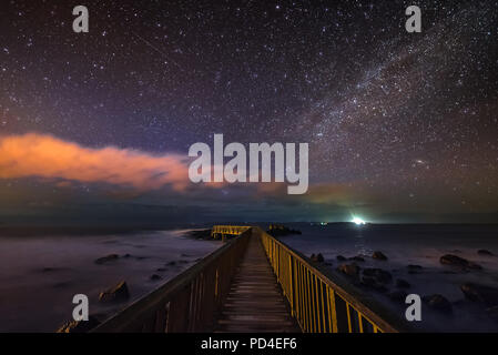 Night sky at Ballycastle in Antrim - Northern Ireland - Stock Image