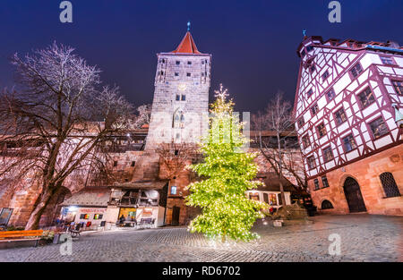 Nuremberg, imperial city from Middle Franconia, Bavaria, Germany - Christmas decorated city - Stock Image