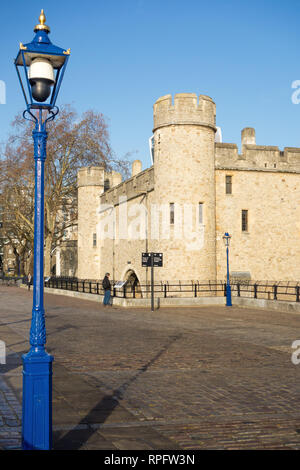 The famous London landmark the Tower of London with blue skies - Stock Image