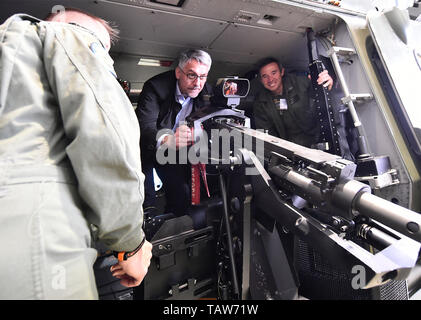 Namest Nad Oslavou, Czech Republic. 28th May, 2019. Czech Defence Minister Lubomir Metnar attends International military exercise Dark Blade in 22nd helicopter base Sedlec, Namest nad Oslavou, Czech Republic, May 28, 2019. Helicopter NH-90. Credit: Lubos Pavlicek/CTK Photo/Alamy Live News - Stock Image