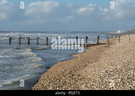 RSPB Medmerry Nature Reserve by the coast at Medmerry, West Sussex, UK. The shingle beach at Medmerry. - Stock Image