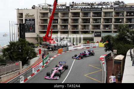 Racing Point's Lance Stroll takes the Fairmont Hairpin during first practice at the Circuit de Monaco, Monaco. - Stock Image
