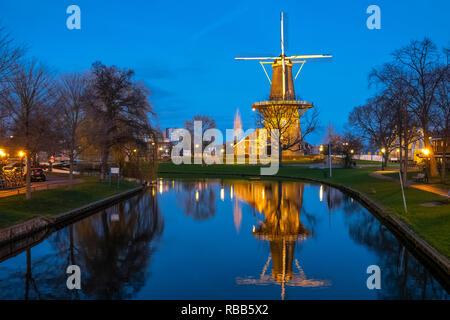 Leiden municipal windmill museum. Molen De Valk is a tower mill and museum in Leiden, Netherlands. - Stock Image