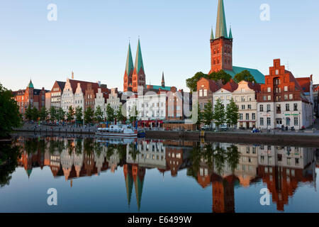 Old town and River Trave at Lubeck, Schleswig-Holstein, Germany - Stock Image