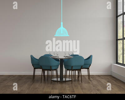 3D rendering, Hologram of ceiling lamp in modern dining room - Stock Image