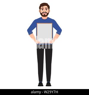 Man holding a poster, character shows empty white frame vector illustration - Stock Image