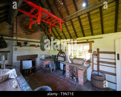 Wash House with 19th Century equipment at Harome Cottage in the  Ryedale Folk Museum in Hutton le Hole North Yorkshire England UK - Stock Image