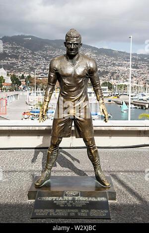 Portugal, Madeira Island, Funchal, CR7 square, Cristiano Ronaldo's statue - Stock Image