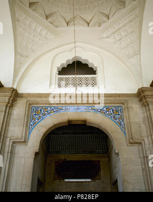 Turkey. Asia Minor. Bursa. Muradiye Complex. Its construction was ordered by the sultan Murat II (reigned 1421-1451), and it was completed in 1426. Tiles over the door of entrance to  Muradiye Mosque. - Stock Image