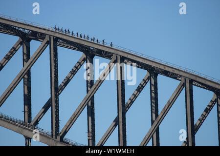 People on Sydney Harbour Bridge Walk - Stock Image