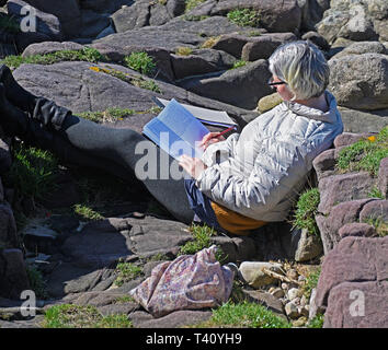 Woman relaxing on rocky beach, reading a book. Old Heysham, Morecambe Bay, Lancashire, England, United Kingdom, Europe. - Stock Image