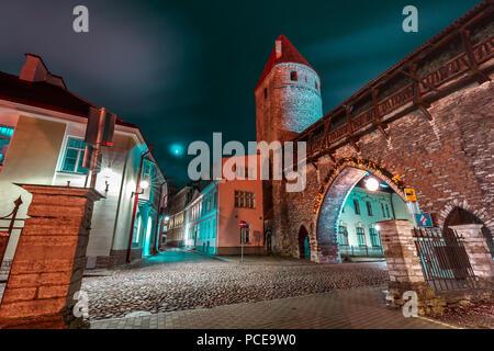 Night Old Town of Tallinn, Estonia - Stock Image