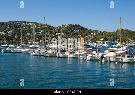 Puerto d'Andratx, Port, moored vessels in a line - Stock Image