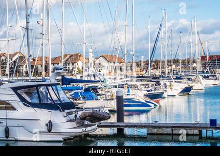 The Ocean Village Marina and Centenary Quay in Southampton, UK. - Stock Image