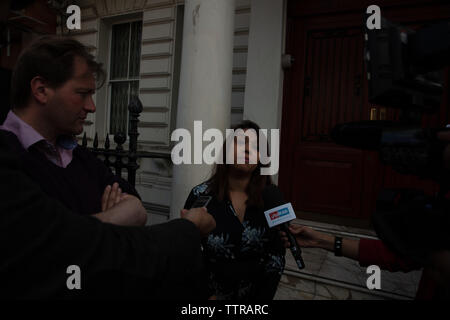 London, UK. 17th June 2019. Richard Ratcliffe on hunger strike in front of the Iranian embassy in London in protest of the detention of his wife Nazanin Zgahari in Iran over spying allegations. Tulip Siddiq, labour MP for Hampstead and Kilburn has come to give support and talks to the press outside the embassy. Credit: Joe Kuis / Alamy - Stock Image