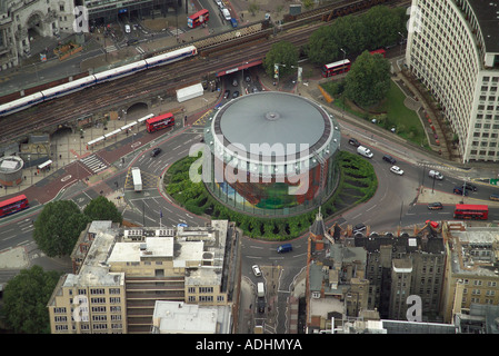 Aerial view of the London IMAX Cinema to the north of Waterloo Station in London - Stock Image