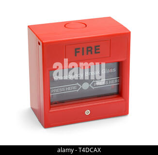 Red Fire Alarm Bod Isolated on a White Background. - Stock Image