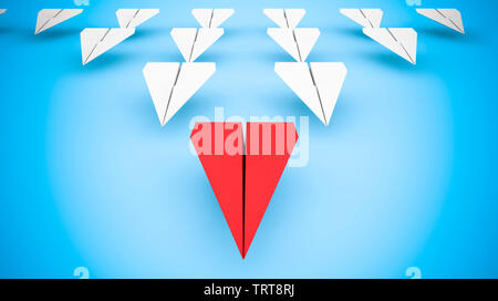 Leading concept with paper planes: Red paper plane as squadron leader. 3d rendering - Stock Image