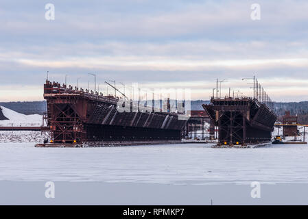 Iron ore dock at Two Harbors, Minnesota, USA. - Stock Image