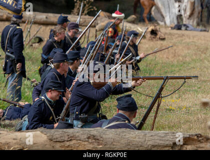 Duncan Mills, CA - July 14, 2018: Union army fiiring at  a Northern California's Civil war reenactment. This Civil War Days is one of the largest reen - Stock Image