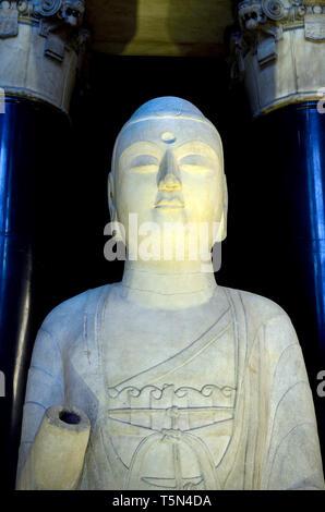 British Museum, Bloomsbury, London, England, UK. Amitabha Buddha (AD585: Sui Dynasty - 581-618) Hebei province, China. the Buddha of infinite light - Stock Image