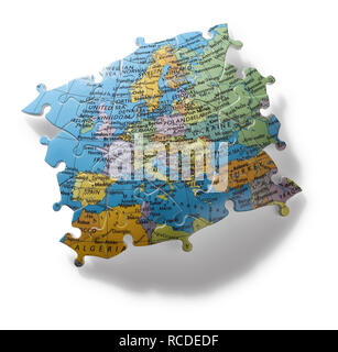 A section of jigsaw puzzle of Europe - Stock Image