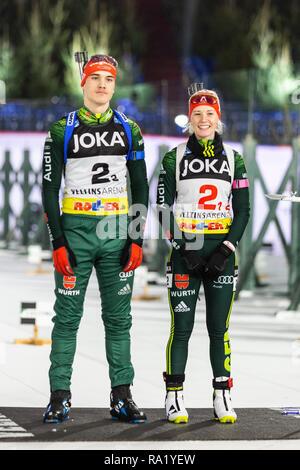 Julian Hollandt, Hanna-Michele Hermann. The German Team Challenge takes place during the JOKA Biathlon WTC auf Schalke featuring young German biathlethes. - Stock Image