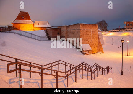 Winter evening at the Bastion of Vilnius city walls. - Stock Image