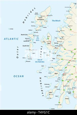 vector road map of scottish archipelago hebrides at the north west coast of scotland - Stock Image
