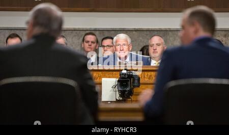 Washington, United States Of America. 13th Mar, 2019. Chairman of the Senate Committee on Commerce, Science, and Transportation, U.S. Senator Roger Wicker of Mississippi listens during a hearing on The New Space Race: Ensuring U.S. Global Leadership on the Final Frontier, at the Dirksen Senate Office Building March 13, 2019 in Washington. DC. Credit: Planetpix/Alamy Live News - Stock Image