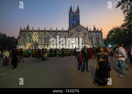 Horizontal view of St Paul's Cathedral in Kolkata aka Calcutta, India. - Stock Image