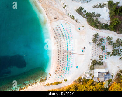 Above view of marble beach Porto Vathy in Thasos, Greece - Stock Image