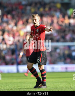 James Ward-Prowse of Southampton during the Premier League match between Brighton & Hove Albion and Southampton at The American Express Community Stadium . 30 March 2019 Editorial use only. No merchandising. For Football images FA and Premier League restrictions apply inc. no internet/mobile usage without FAPL license - for details contact Football Dataco - Stock Image