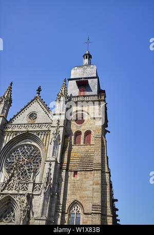 The Church of St Léonard at the highest point in Fougères, Brittany, France - Stock Image