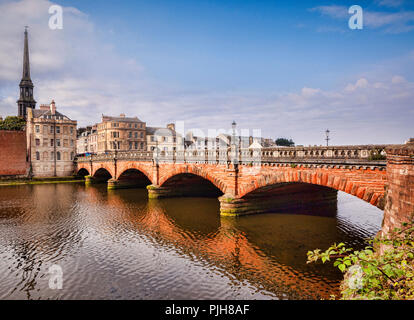 New Bridge, built 1878, and the River Ayr in Ayr, South Ayrshire, Scotland. - Stock Image