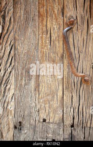 Old Wood Panel Door with Handle - Stock Image
