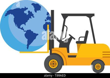 globe with lift truck icon cartoon vector illustration graphic design - Stock Image