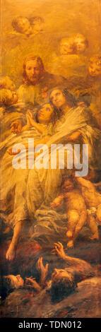CATANIA, ITALY - APRIL 7, 2018: The painting of Jesus and the souls of Purgatory in church Chiesa dei Minoriti by  Francesco Mancini Ardizzone. - Stock Image