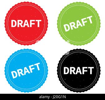 DRAFT text, on round wavy border stamp badge, in color set. - Stock Image
