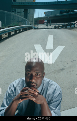 41 year old African American businessman in street - Stock Image