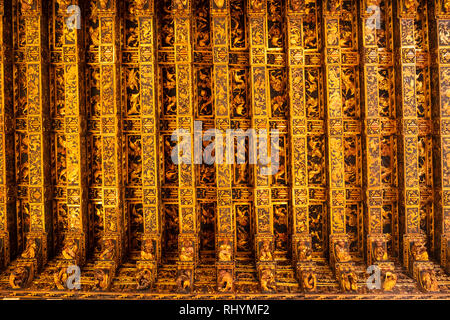Highly decorative ceiling in the Consulate of the Sea (Consulado del Mar) Silk Exchange in Valencia Spain - Stock Image