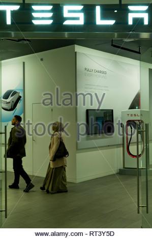 Tesla pop up showroom at Canary Wharf, London, UK - Stock Image