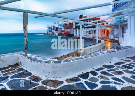 Little Venice on island Mykonos, Greece - Stock Image
