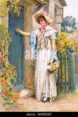 A charity visit to a cottage       Date: 1894 - Stock Image