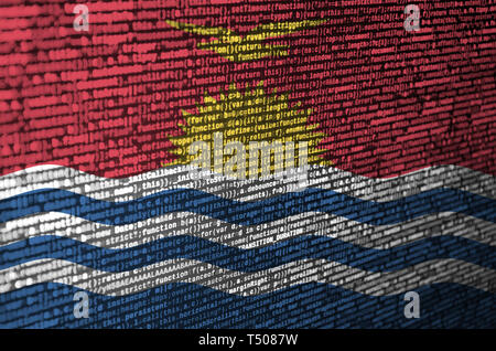 Kiribati flag  is depicted on the screen with the program code. The concept of modern technology and site development. - Stock Image